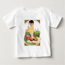 Vintage Girl With Easter Bunnies & Eggs Easter Baby T-Shirt