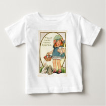 Vintage Girl With Easter Bunnies & Eggs Easter Car Baby T-Shirt