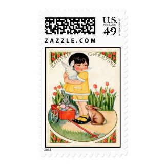 Vintage Girl With Easter Bunnies & Eggs Easter Car Postage