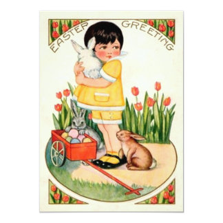 Vintage Girl With Easter Bunnies & Eggs Easter Card