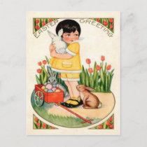 Vintage Girl With Easter Bunnies & Eggs Easter Holiday Postcard