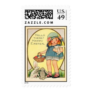 Vintage Girl With Easter Bunnies & Eggs Easter Postage