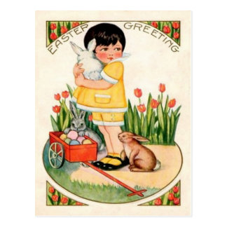 Vintage Girl With Easter Bunnies & Eggs Easter Postcard