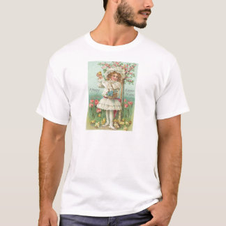 Vintage Girl With Easter Chicks Flowers Easter Car T-Shirt