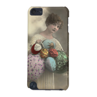 Vintage girl with Easter egg basket case