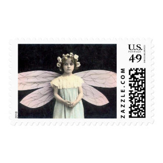 Vintage Girl With Fairy Wings So Darling Postage Stamp