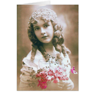 VINTAGE GIRL WITH FLOWERS CARD