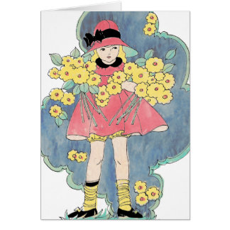 Vintage Girl with Flowers for Spring and a Cloud Card