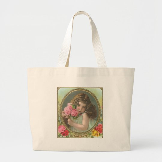 Vintage girl with flowers large tote bag