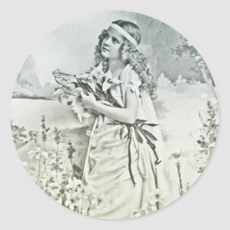 Vintage Girl with Flowers Portrait Classic Round Sticker