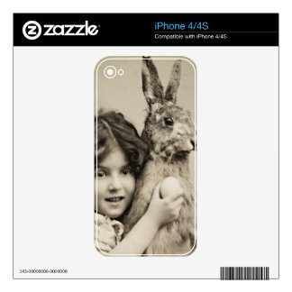 Vintage girl with giant Easter bunny Decal For The iPhone 4