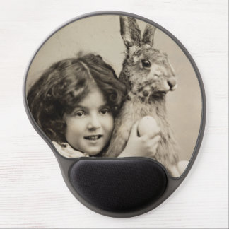 Vintage girl with giant Easter bunny Gel Mouse Pad