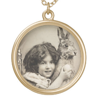Vintage girl with giant Easter bunny Gold Plated Necklace