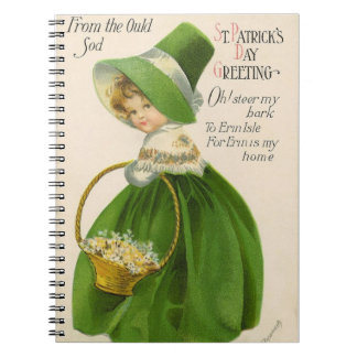 Vintage girl with green hat dress St Patrick's Day Notebook