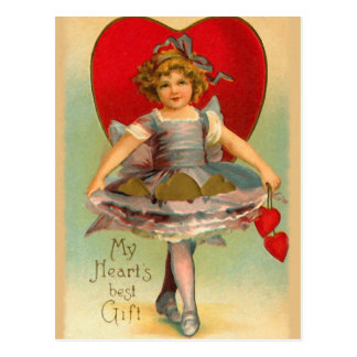 Vintage Girl with Hearts Postcard