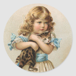 Vintage Girl with her Kitten Stickers