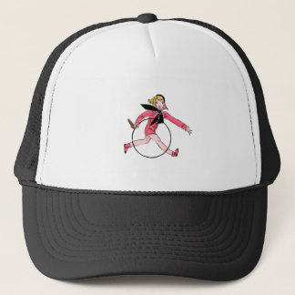 Vintage Girl With Hoop Trucker Hat