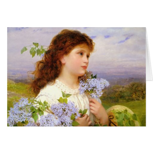 Vintage Girl with Lilacs 1875 Greeting Card