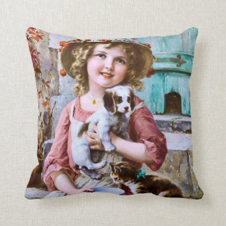 Vintage Girl with Pets by Emile Vernon Pillow