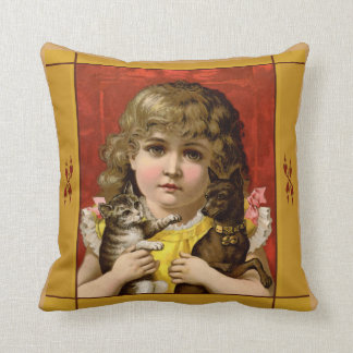 Vintage Girl with Pets Pillow