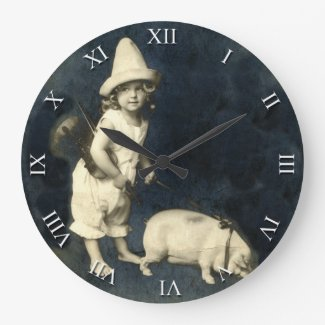 Vintage Girl with Pig and Violin Clock