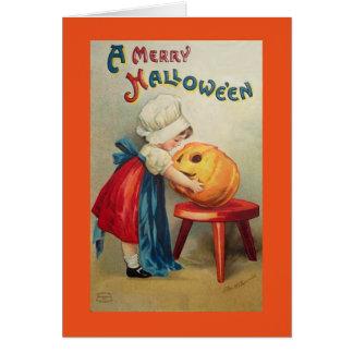Vintage Girl With Pumpkin Card