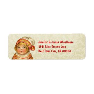 Vintage Girl with Red Hat CH201 Return Address Labels