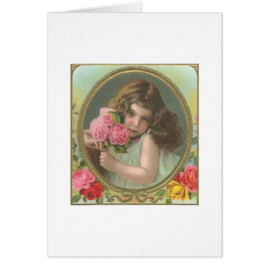 Vintage- girl with roses card