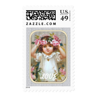 Vintage girl with roses stamp