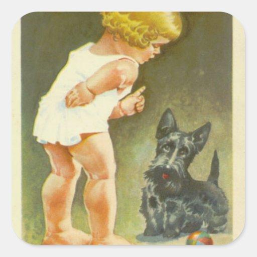 Vintage Girl with Scottish Terrier Sticker