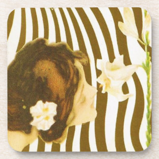 Vintage Girl with Sun and Flower Coasters