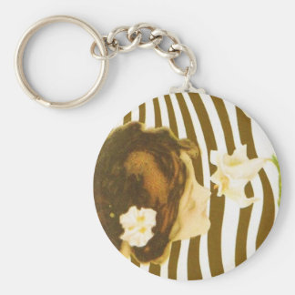 Vintage Girl with Sun and Flower Key Chain