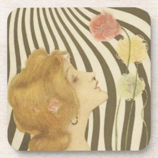 Vintage Girl with Sun and Flowers Coasters