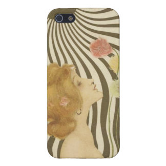 Vintage Girl with Sun and Flowers iPhone 5 Case