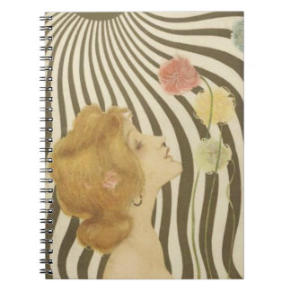 Vintage Girl with Sun and Flowers Notebook