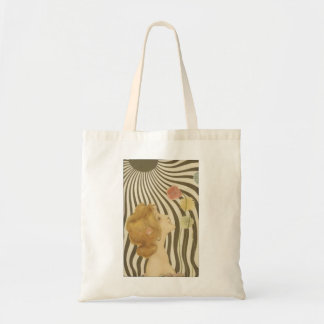 Vintage Girl with Sun and Flowers Tote Bag