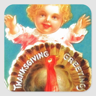 Vintage Girl with Turkey Thanksgiving Greetings Sticker