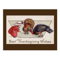 Vintage Girl with Turkeys Thanksgiving Postcard