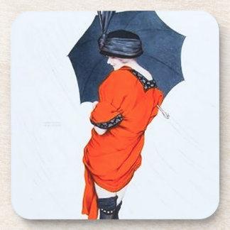 Vintage Girl With Umbrella Coasters