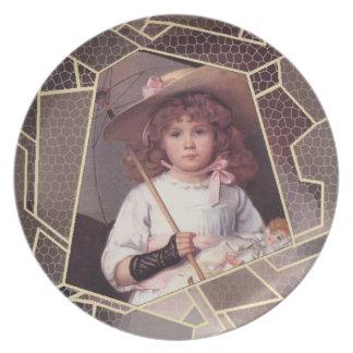 Vintage Girl with Umbrella Dinner Plate