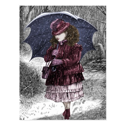 Vintage Girl With Umbrella In Snow Storm Postcard