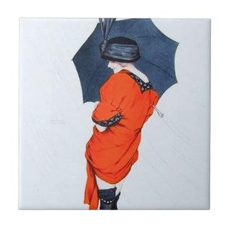 Vintage Girl With Umbrella Tile