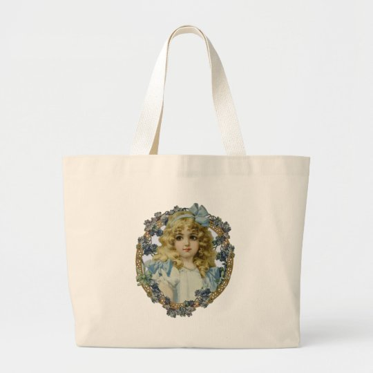 Vintage Girl with Victorian Blue Bow and Flowers Large Tote Bag