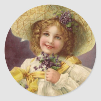 Vintage Girl with Violet Flowers Classic Round Sticker
