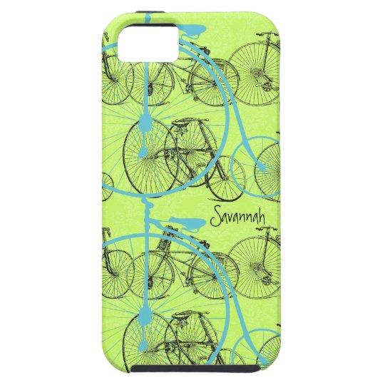 Vintage Girl Yellow Lime Aqua Bike Damask Iphone 5 iPhone SE/5/5s Case