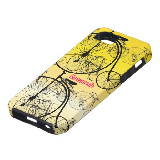 Vintage Girl Yellow Pink Bike Pattern Iphone 5 iPhone 5 Cases