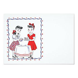 "Vintage Girlfriends BFF Tea Party Blank Invitation 5"" X 7"" Invitation Card"