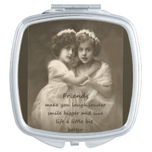 Vintage Girlfriends Friendship Quote Mirror For Makeup