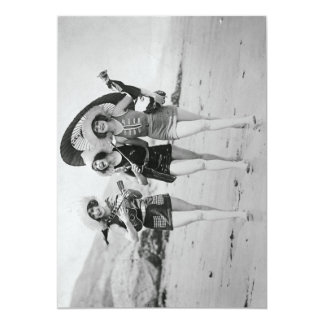 Vintage Girlfriends Singing on the Beach Card