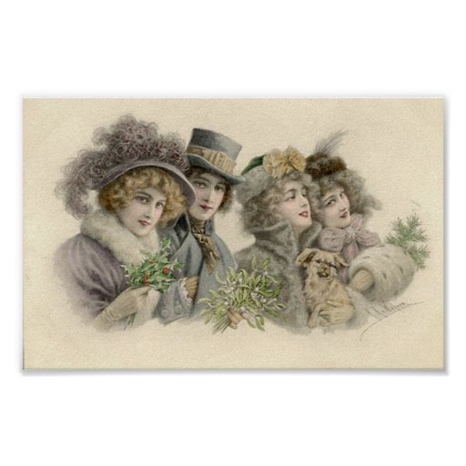 Vintage Girls and Dog Holiday Card Poster
